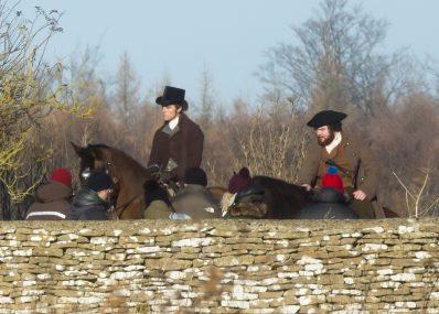 Jack Farthing on horseback, left, playing George Warleggan, on the set of Poldark near Cirencester, Glouc. 29 Nov 2016 Exclusive pics Pic: Jon Rowley